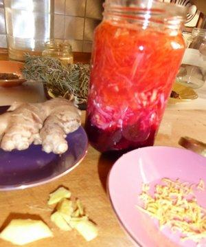 Legumes lactofermentes : Betterave Carotte Radis noir au gingembre et zeste de citron